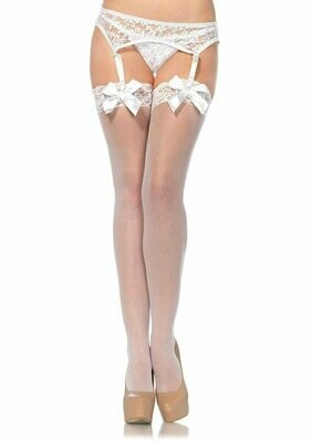 Sheer Thigh Hi Lace Top With Satin Bow - White -  One Size