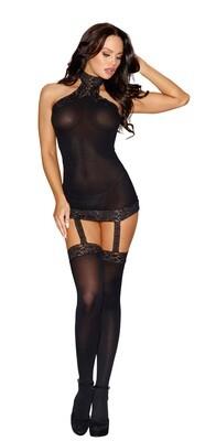 Sheer Garter Dress - One Size - Black