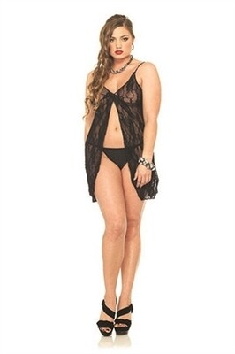 Romantic Lace Babydoll and G-String - Queen Size - Black