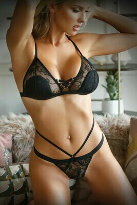 Sweet Spot Lace Up Bra and Caged Panty - One Size