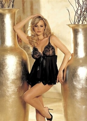 Sequin Embroidery and Sheer Net Baby Doll - One Size - Black