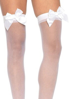 Sheer Thigh Highs - One Size - White