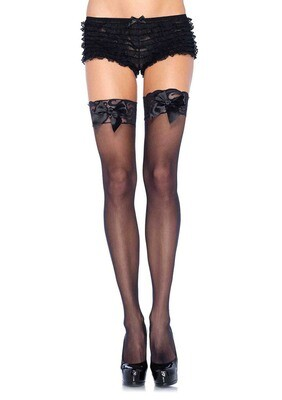 Sheer Lace Top Thigh Highs With Satin Bow Accent - One Size - Black