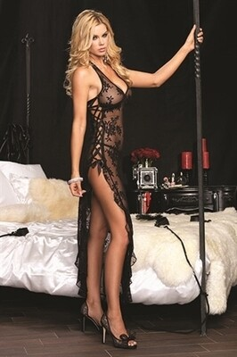 Rose Lace High Slit Gown and G-String - One Size - Black