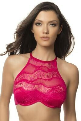 High Neck Bra With Diagonal Eyelash  Lace Panels - Large - Bright Rose