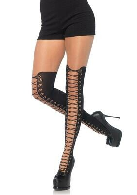 All Tied Up Pantyhose With Opaque Faux Thigh High Boot Detail - One Size