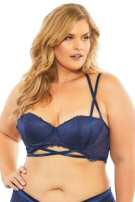 Lace Push Up Balconette Bra With Crossing Halter Straps - Estate Blue - 4x