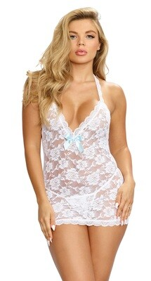 T-Back Chemise and G-String - One Size - White