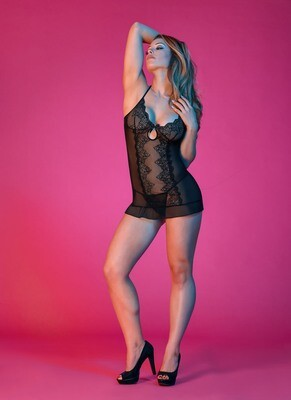 Sexy Time Chemise and G-String Set - Black - S/m