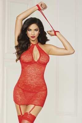 Lace Halter Chemise  - One Size - Red