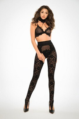 Freya Wild Lace Chaps Panty and Bra - Black - Medium