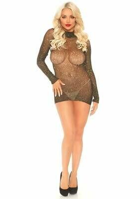 Lurex Long Sleeved High Neck Fishnet Dress - One Size - Black/ Gold
