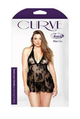 Curve Claudia Stretch Lace Babydoll & Matching G-String  - 1x/2x -  Black
