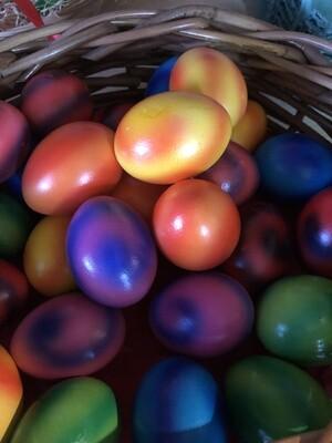 6 Eier / gekocht, farbig