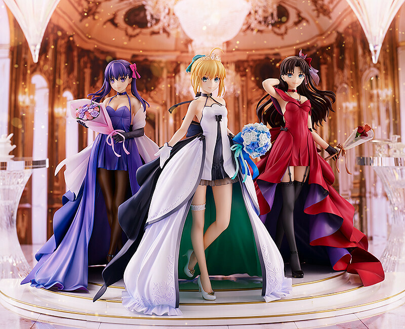 PRE-ORDER Saber, Rin Tohsaka and Sakura Matou 15th Celebration Dress Ver. Premium Box