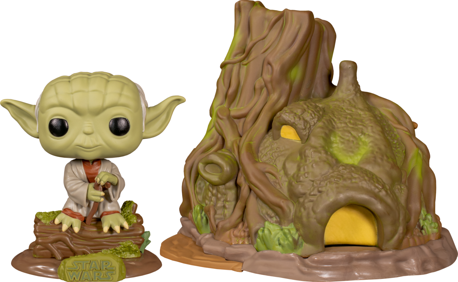 Star Wars Episode V: The Empire Strikes Back - Dagobah Yoda with Hut Pop! Town Vinyl Figure