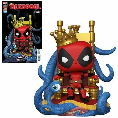 PRE-ORDER Marvel Heroes King Deadpool on Throne Deluxe Pop! Vinyl Figure and Deadpool #9 Variant Comic - Previews Exclusive