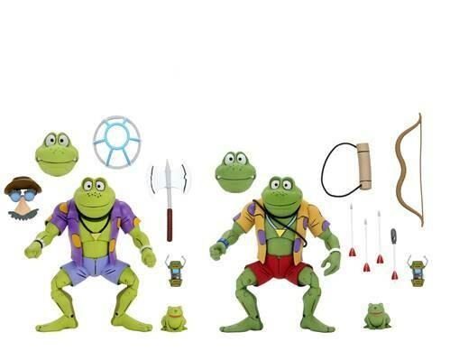 """PRE-ORDER Neca TMNT (Cartoon) – 7"""" Scale Action Figure –Genghis & Rasputin Frog  2 pack"""