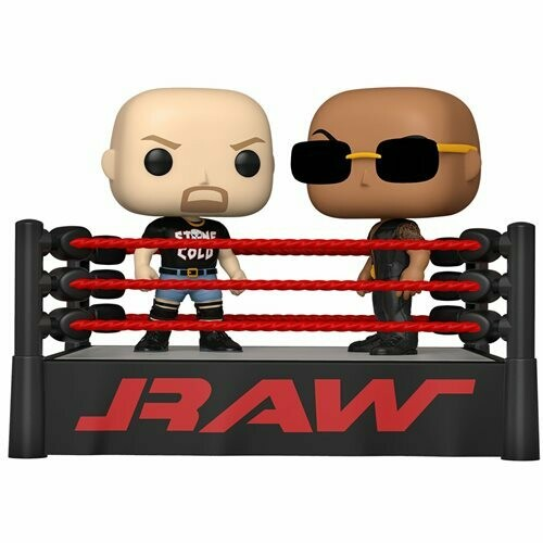 PRE-ORDER Funko WWE The Rock Vs. Stone Cold Steve Austin in Wrestling Ring Pop! Vinyl Moment
