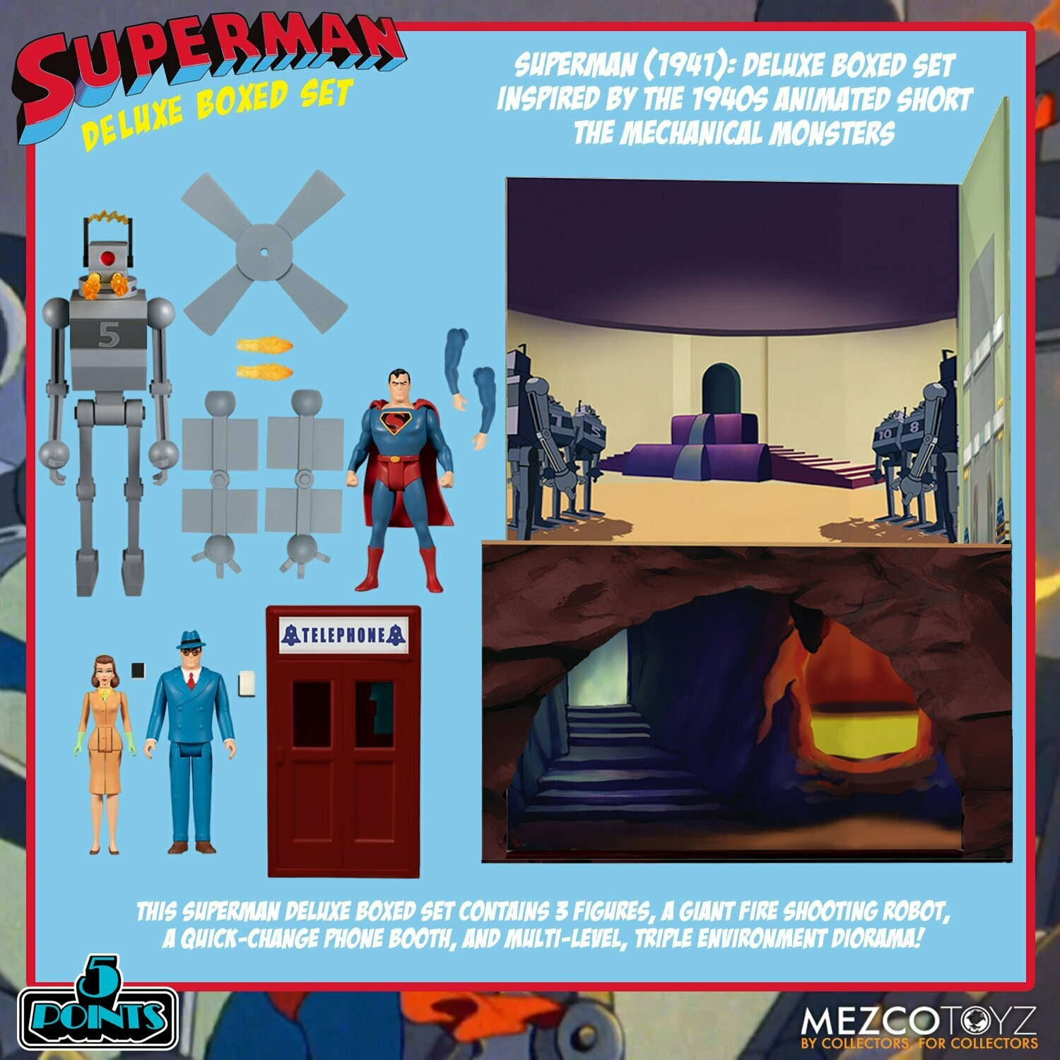 PRE-ORDER Mezco 5 Points Superman - The Mechanical Monsters (1941) Deluxe Boxed Set