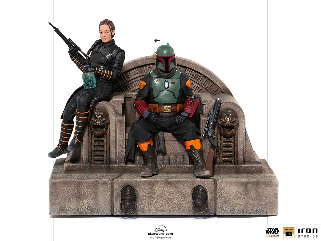PRE-ORDER Iron Studios Boba Fett and Fennec Shand on Throne Deluxe Art Scale 1/10 - The Mandalorian