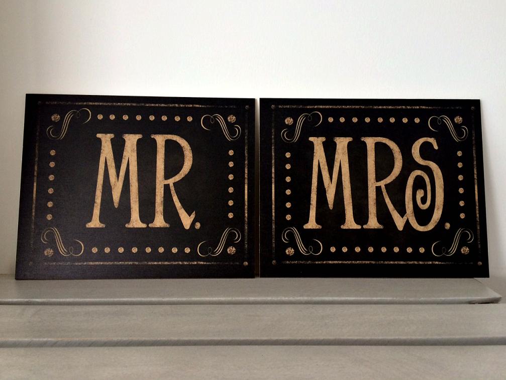 Set de Letreros Mr & Mrs