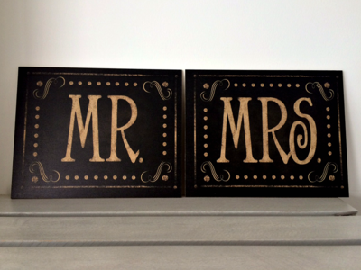 Set de Letreros Mr & Mrs