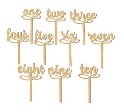 Letreros para Enumerar Mesas Nobomu (Natural, Negro, Plata, Dorado) / Números de Mesa