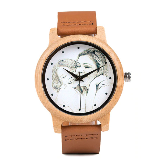 Reloj Cuero y Madera Foto Personalizado