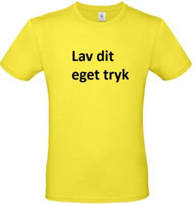 T-shirt med 3-farvet tryk -  Lys gul