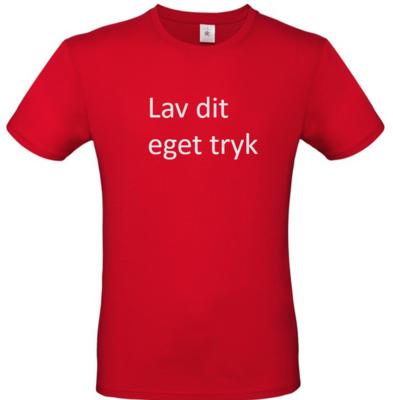 T-shirt med 3-farvet tryk -  Rød