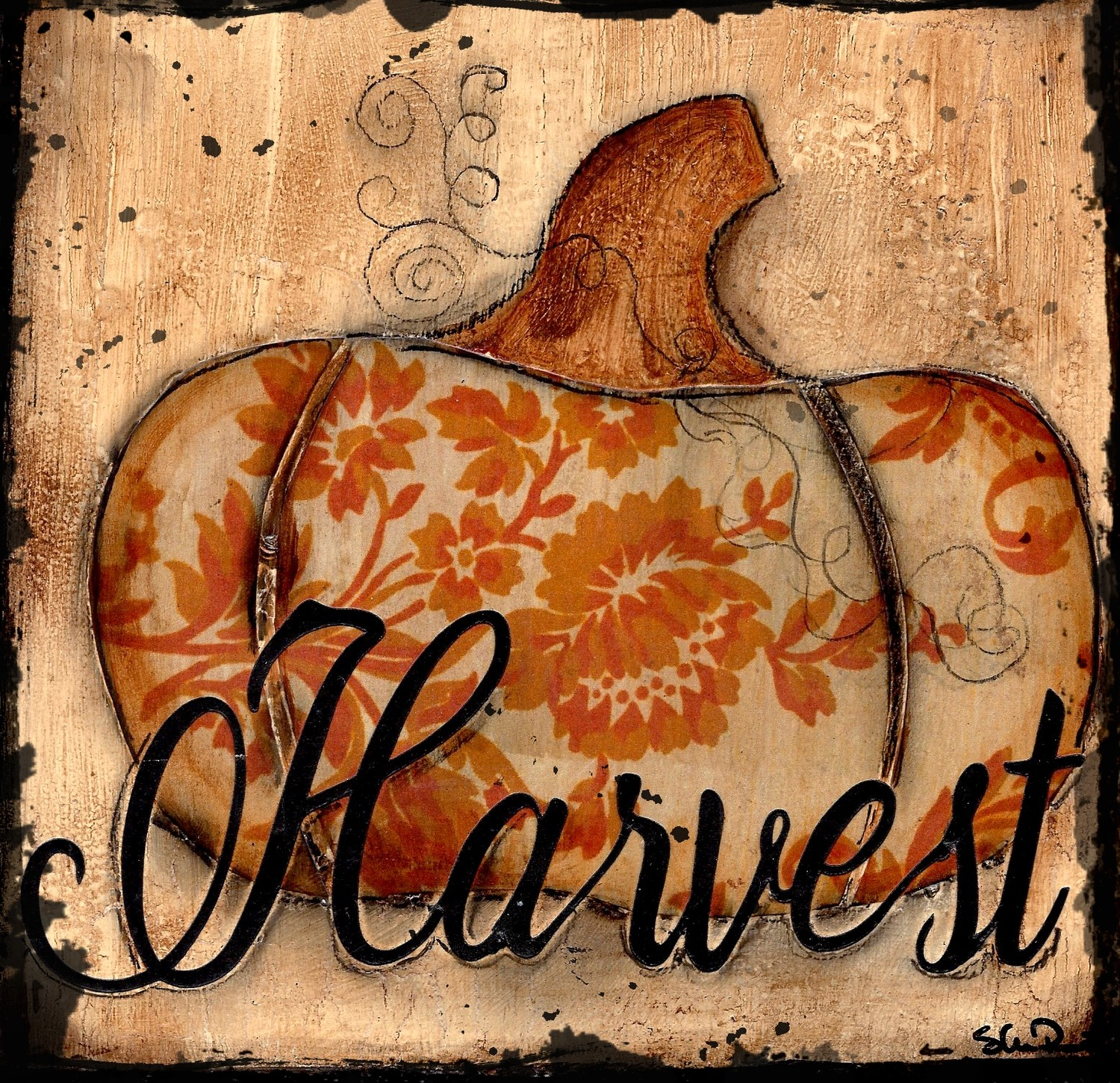 """Harvest"" pumpkin Print on Wood and Print to be Framed"