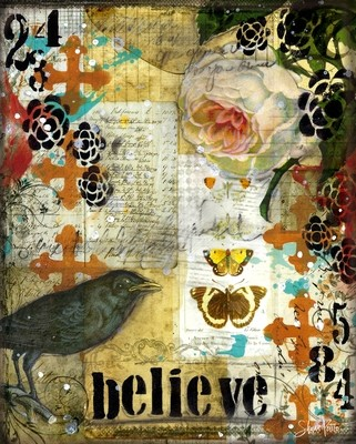 """""""Believe"""" blackbird Print on Wood and Print to be Framed"""