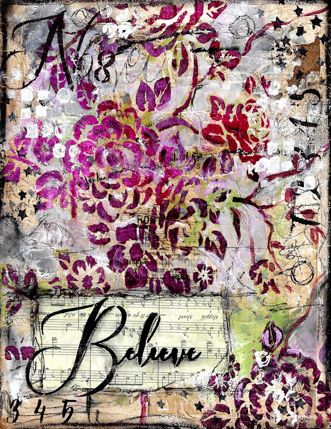 """Believe"" 5x7 Print on Wood Overstock"