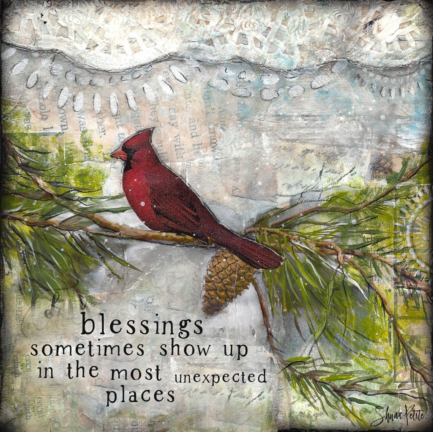 """Blessings"" cardinal Print on Wood and Print to be Framed"