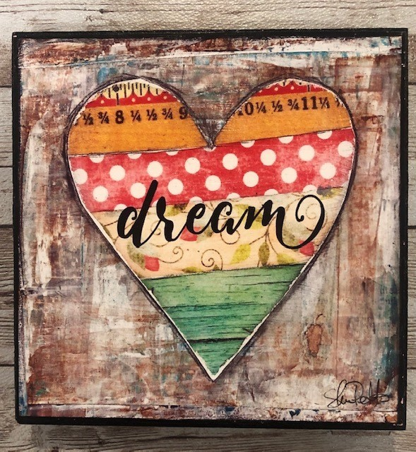 """Dream"" 6x6 print on wood clearance"