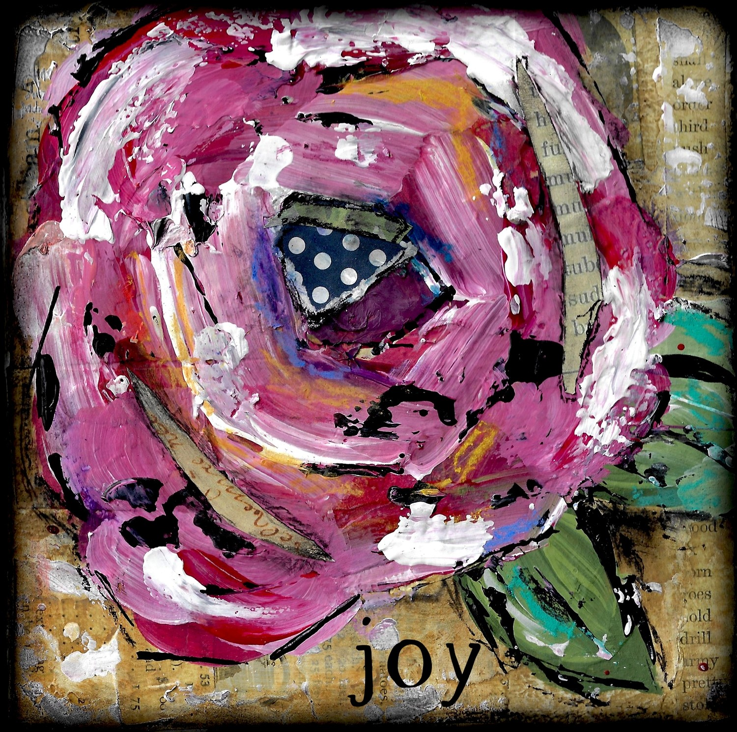 """Joy"" Flower Print on Wood and Print to be Framed"