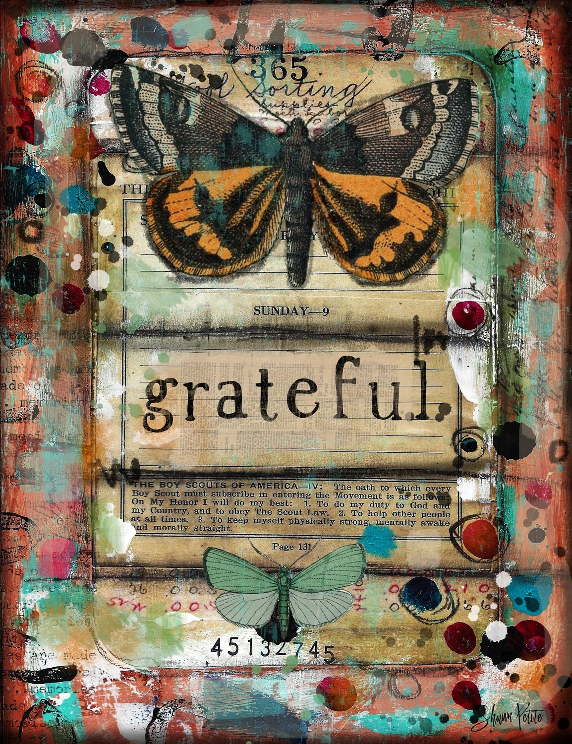 """Grateful"" butterfly Print on Wood 4x6 Overstock"