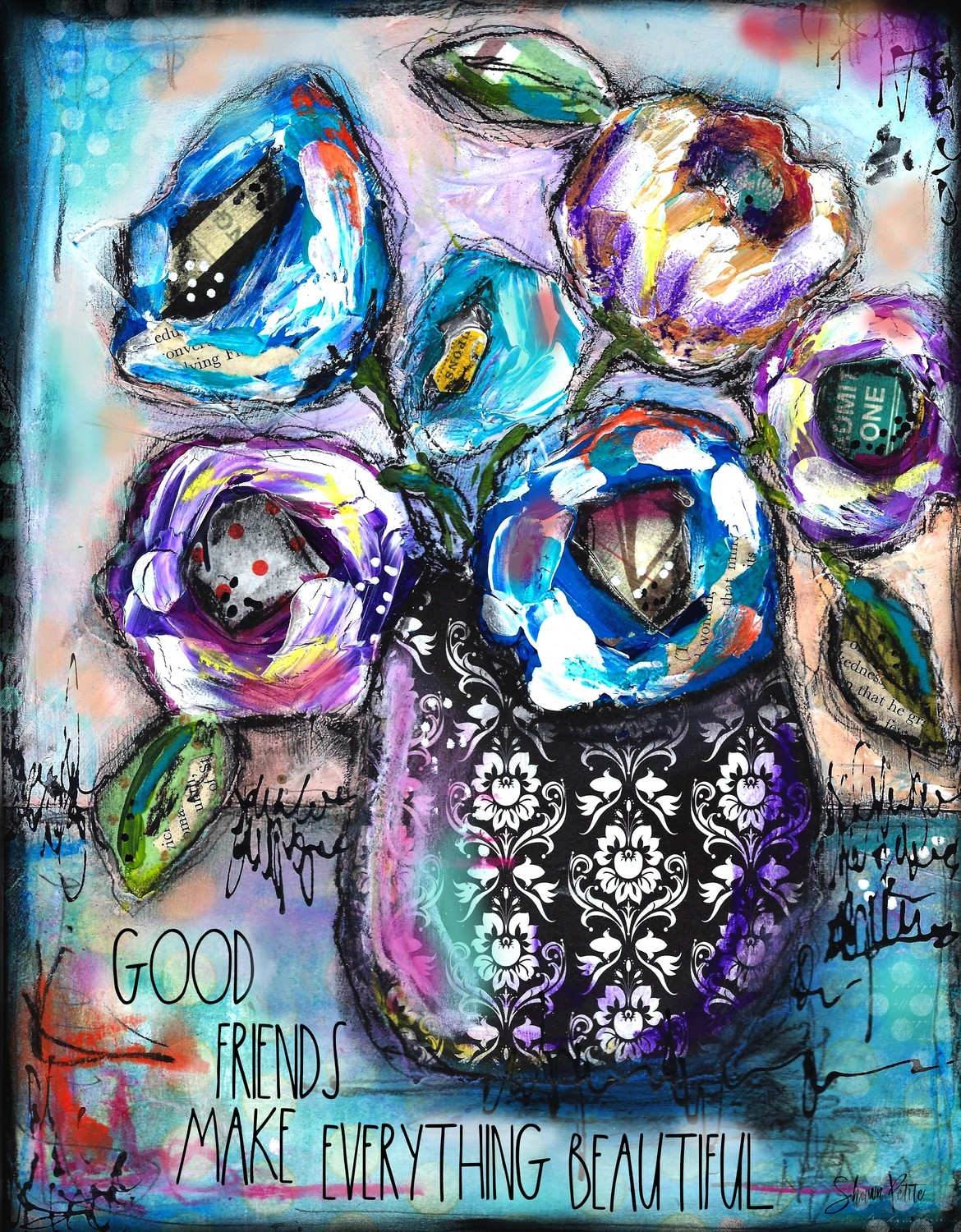 """Good Friends"" flower vase Print on Wood and Print to be Framed"