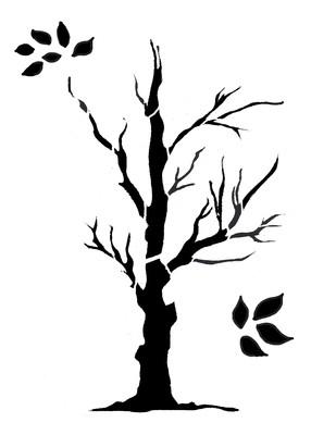 Tree large 1 stencil 12x16