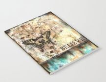 """Notebook """"Believe"""" butterfly and flowers"""