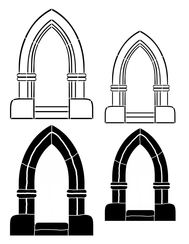 Arch 3 point 8x10 stencil