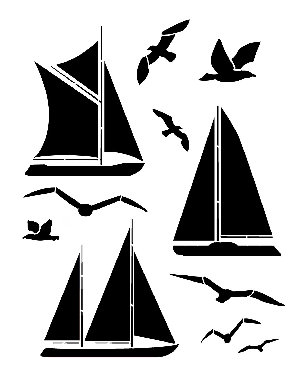 Boats and Birds 8x10 Stencil