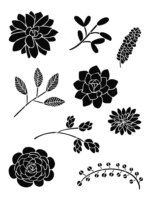 Bouquet of Flowers 1 12x16 Stencil