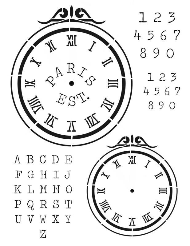 Clock 1 Scroll 12x16 Stencil