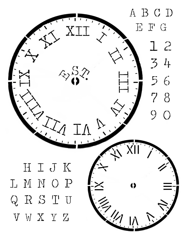 Clock Farmhouse 12x16 Stencil