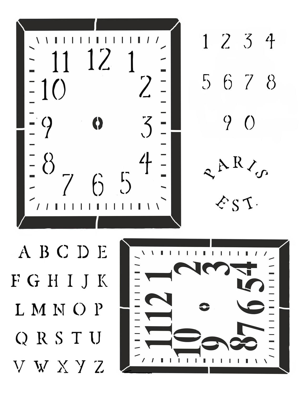 Clock 2 Square 12x16 Stencil