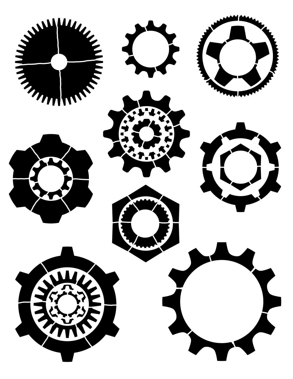 Gears Stencil 8x10