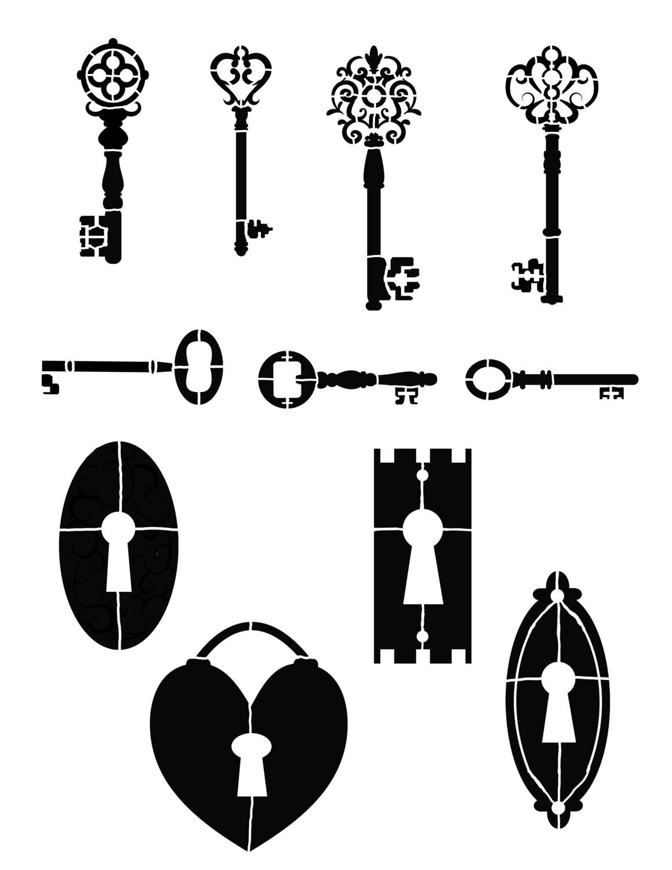 Keys Stencil 8x10