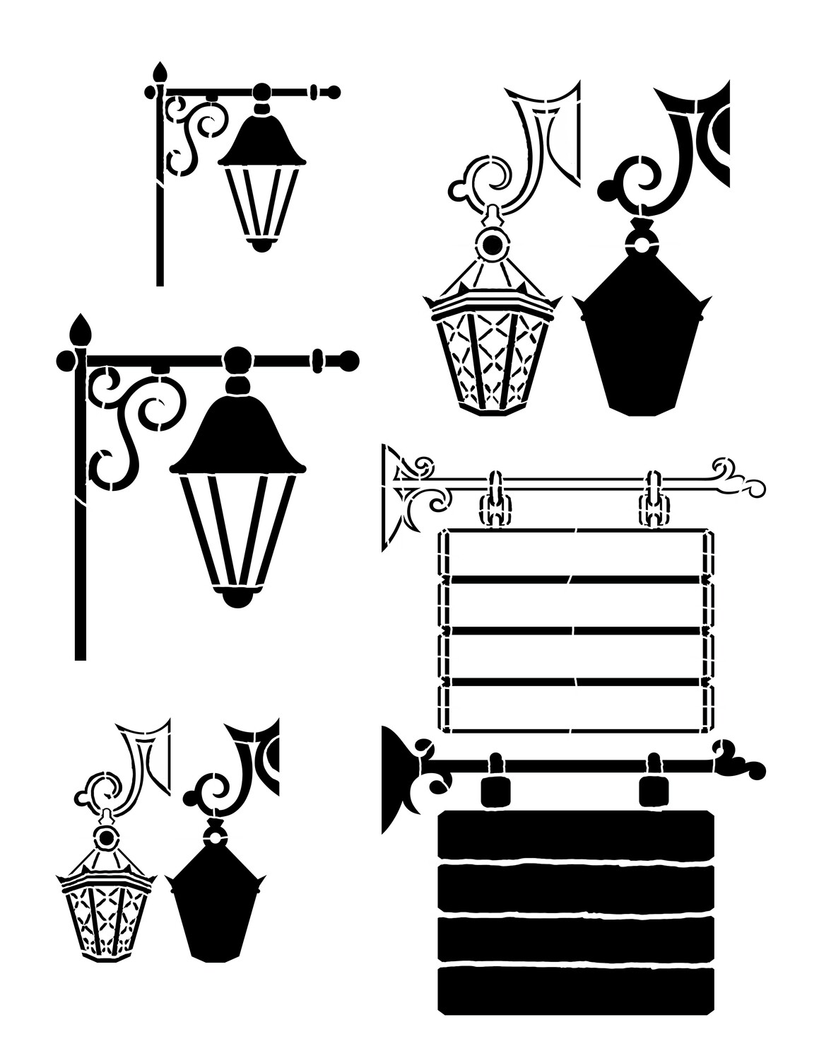 Lanterns and Signs Stencil 8x10